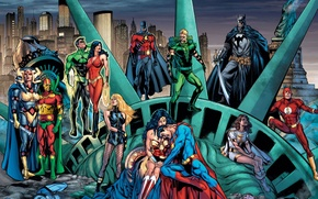 Picture batman, comics, Superman, green lantern, wonder woman, dc universe, flash