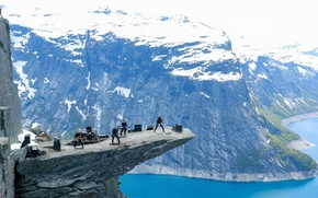 Picture mountains, lake, height, group, Norway, concert, Norway, The Troll's Tongue, Trolltunga, the lake Engelsman, Odda, …