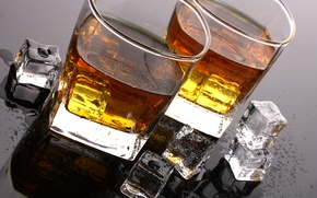 Picture ice, drops, table, cubes, glasses, alcohol, drink, whiskey, tumblers