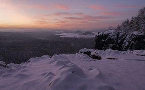 Picture Saxony, snow, mountains, Germany, Elbe Sandstone mountains, Germany, panorama, winter, Saxony, Saxon Switzerland, Width Of ...