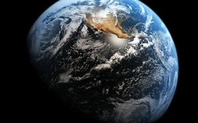 Picture space, clouds, planet earth, continent