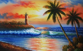 Picture sea, wave, the sky, sunset, palm trees, lighthouse, island, painting