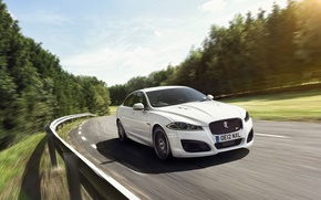 Picture road, white, the sky, trees, Jaguar, Jaguar, sedan, the front, speed, XFR, IXFR