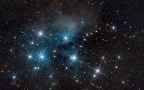 Picture in the constellation of Taurus, The Pleiades, space, star cluster