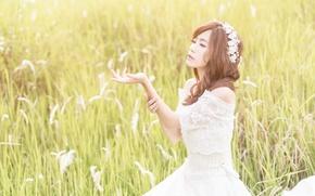 Picture field, summer, girl, face, hand, dress