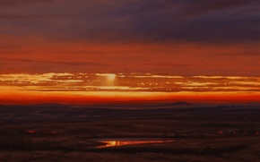 Picture the sky, water, clouds, light, landscape, reflection, the steppe, fire, fire, dawn, picture, plain, morning, ...