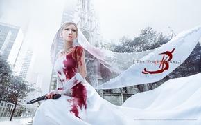 Picture gun, white, blood, dress, Aya Brea, Parasite Eve, Aya Brea, The 3rd Birthday, wedding