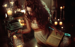 Wallpaper candles, red, book, hair, girl, lights, girl, model, mood, lantern, fabulous, tale
