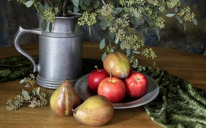 Picture plate, flowers, fruit, Still life, silver vase