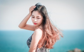 Picture sea, girl, coast, hair, dress, Asian
