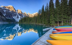 Picture forest, mountains, lake, boats, pier, Canada