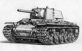 Picture figure, tank, Soviet, heavy tank, KV-1