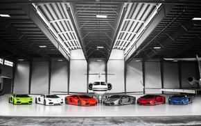 Picture Silver, Lamborghini, Red, LP700-4, Aventador, Supercars, Blue, Orange, Green, White, Plane, Supercars, The plane