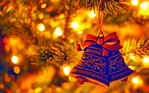 Picture lights, holiday, Christmas, New year, tree, Christmas toy, bell
