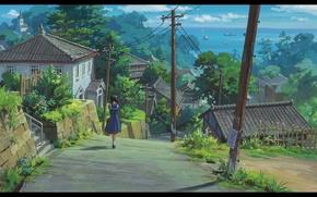 Picture road, sea, summer, trees, posts, wire, Japan, home, roof, village, schoolgirl, kokuriko-zara kara, from up …