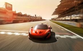 Picture McLaren, Auto, Road, Machine, Orange, Tribune, Track, Sports car