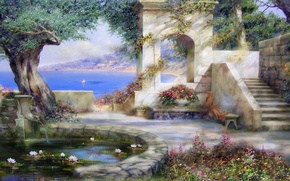 Picture sea, summer, joy, flowers, pond, tree, Paradise, The sun, beauty, shadow, picture, sail, Crimea, painting, …