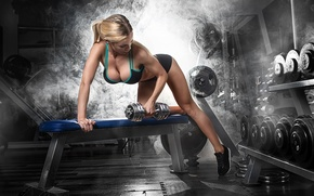 Picture fitness, gym, dumbbell, hard work