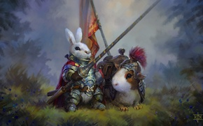 Wallpaper rabbit, Guinea pig, knight, art