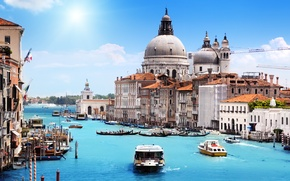 Picture sea, the sky, the sun, clouds, the city, boats, Italy, Venice, Cathedral, channel, architecture, gondola, …