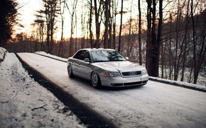 Picture forest, snow, Audi, Audi, silver, stance, Doroga