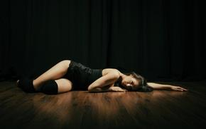 Picture girl, floor, lies, legs, twilight