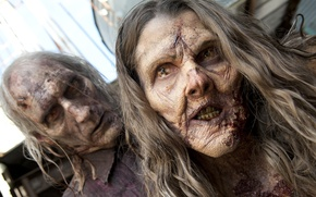 Picture zombies, woman, man, the walking dead