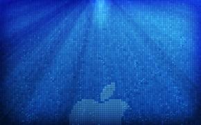 Picture water, rays, light, bubbles, apple, logo, pixels, Hi-Tech