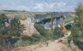 Picture road, landscape, home, picture, village, Paul Gauguin, Entrance to the Village of Osny