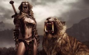 Picture look, girl, weapons, sword, skin, fangs, The Elder Scrolls V: Skyrim, Sabretooth