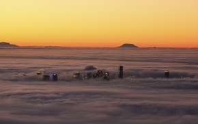 Wallpaper Vancouver, fog, home, Canada, clouds, sunset