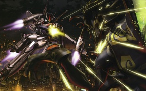 Picture space, power, laser, armor, the battle, macross frontier, fighting robots, megapolis night lights city, by …