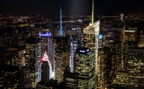 Picture light, night, the city, building, home, New York, skyscrapers, lighting, panorama, USA, USA, NYC, New ...