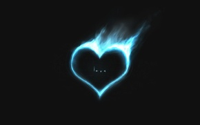 Wallpaper love, blue, fire, heart, minimalism