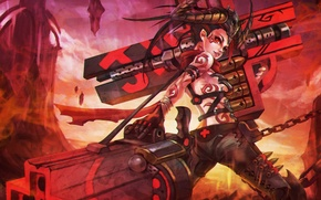Wallpaper League of Legends, Demon Hunter, Jinx, Loose Cannon, Demon Hunter Jinx