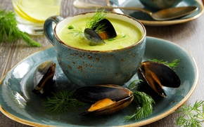 Picture greens, dill, peas, peas, parsley, dill, the first dish, the first dish, puree soup with ...