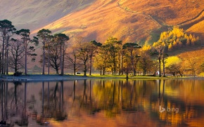Wallpaper mountain, slope, England, trees, National Park lake district, lake, house, sunset