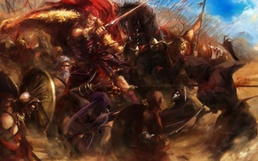 Picture weapons, horses, sword, war, art, battle, shield, cloak, fate stay night, peaks, rider, spears, assassin, …