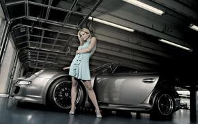 Picture girl, dress, blonde, Porsche