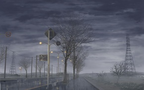 Picture road, the sky, trees, clouds, fog, rain, Japan, Fanari, dense, Rainy day, pouring