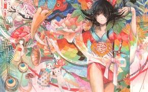 Picture girl, flowers, toys, doll, anime, art, kimono, halo, fuji choko