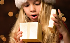 Wallpaper emotions, holiday, gift, Girl