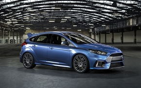Picture photo, Ford, Blue, Car, Side, 2015, Metallic, Focus RS