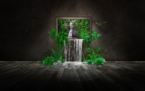 Wallpaper picture, greens, butterfly, nature, waterfall, photomanipulation