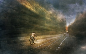 Picture bike, the city, filter