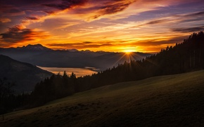 Wallpaper the sun, the sky, rays, mountains, sunset