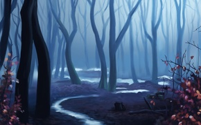 Picture forest, trees, twilight, painted landscape