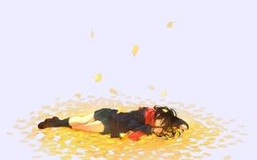Picture autumn, leaves, girl, anime, scarf, art, nora, kukumaka23