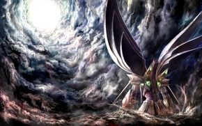 Picture the sky, clouds, light, robot, wings, anime, art, fur, super robot wars, intuos9
