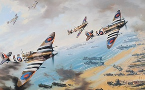 Picture beach, figure, ships, art, fighters, spitfire, Normady, fighter sweep, landing in Normandy, D-Day